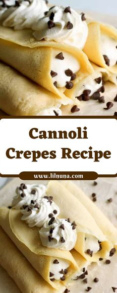 Cannoli Crepes Rezept - Cookies Cupcake and Snack - Dessert Easy Crepe Recipe, Crepe Recipes, Cannoli, Cookie Recipes, Dessert Recipes, Desserts, Crepe Batter, Macaron, Breakfast Recipes