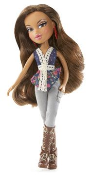 Bratz® share a passion for fashion and friendship with an unexpected twist of style, sassiness and attitude. Yasmin™ flaunts a flowery top with jeans and tall lace-up boots.