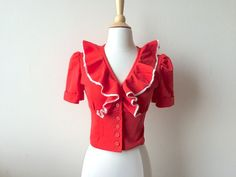 Vintage Ruffled Cropped Red Top by Baxtervintage on Etsy