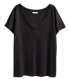 V-Shirt | Schwarz | Damen | H&M AT