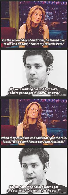 Jenna Fischer and John Krasinski on interviewing for the roles of Jim and Pam on The Office. The Office Show, Office Tv, Pam The Office, Office Cast, Just In Case, Just For You, Favorite Tv Shows, My Favorite Things, Office Memes