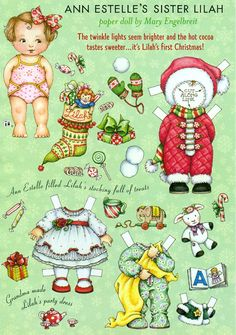 Uncut Paper Doll by Mary Engelbreit Lilah's First Christmas. $3.50, via Etsy.