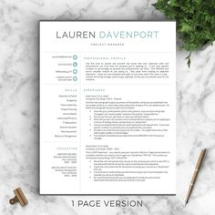 Professional and Modern Resume Template for Word & Pages: The Lauren - Instant Download - US Letter and A4 sizes included - Mac & PC Compatible using Microsoft Word or Mac Pages __________________ COUPONS: -> 2 Resumes for $25 ($USD) with code GETLANDED -> 3 Resumes for $35