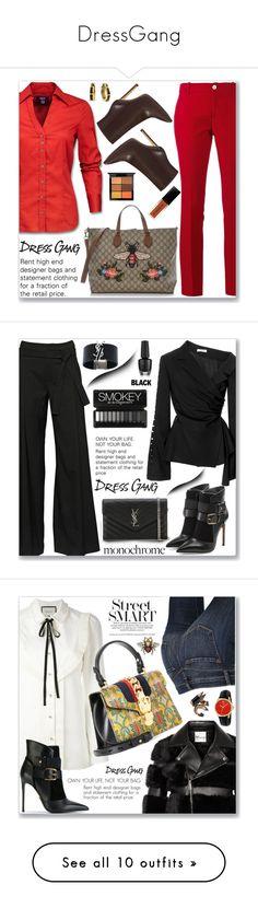 """DressGang"" by jecakns ❤ liked on Polyvore featuring Gucci, Nine West, MAC Cosmetics, Bling Jewelry, A.F. Vandevorst, Adeam, Yves Saint Laurent, Balmain, Noir Kei Ninomiya and J Brand"