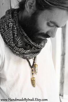 Black and White One Long cotton Unisex scarf by handmadebyinali