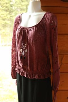 Free People Mint Purple Embroidered  Cutouts Peasant Boho Festival  Chic Top XS #FreePeople #Blouse