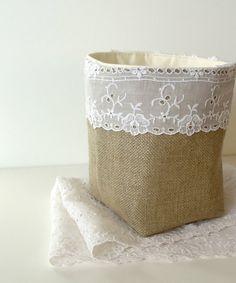 Burlap Basket Vintage Upcycled Eyelet Lace Fabric  by JuneberryStitches,