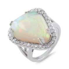 #Malakan #Jewelry - Platinum-Silver Opal Ladies Diamond Ring 66637B #Fashion #FashionRings #WomensFashion