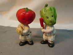 Vintage Baseball Batter Tomato Pepper Vegetable Head Salt Pepper Shakers   eBay