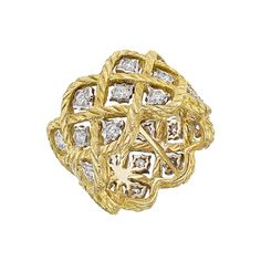 "Buccellati ""Etoilee"" Gold & Diamond Band Ring 