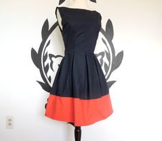 Pure Class Dress Navy Blue and Coral Classy by PassionPeach, 54.50 USD