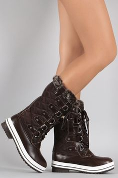 Quilted Faux Fur Cuff Lace Up Mid Calf Snow Boots | UrbanOG