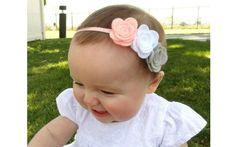 Baby Headbands - Pink Gray White - Newborn Girl to Adult - Photo Prop Felt Headband, Baby Girl Headbands, Baby Bows, Crochet Headbands, Flower Headbands, Felt Flowers, Fabric Flowers, Barrettes, Hairbows