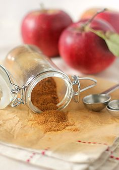 [ DIY: Homemade Apple Pie Spice Recipe ] 2 Tablespoons ground cinnamon; 1 Tablespoon freshly grated nutmeg; 1 1/2 teaspoons ground allspice. Directions: In a small bowl combine the spices, mixing well.  Transfer to a small, airtight container until ready to use. ~ from Nicole at thegalleygourmet.net