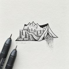 Nature camping tattoo - needs more trees and no puking waterfall