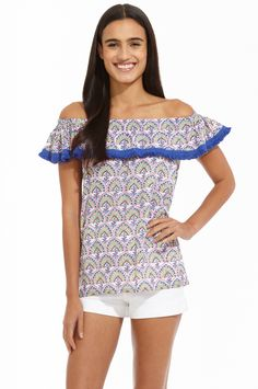 Fun and flirty sums up this off the shoulder, Roberta Roller Rabbit Bai top. It is the perfect summer top that can work for day or night.