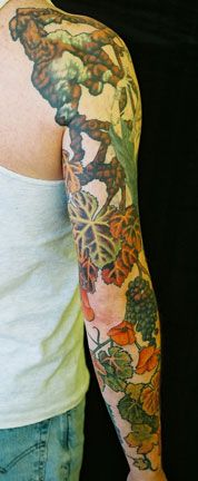 Cabernet grapes & California poppy sleeve Marie Wadman of Diving Swallow. One of my favorite tattoo artists.