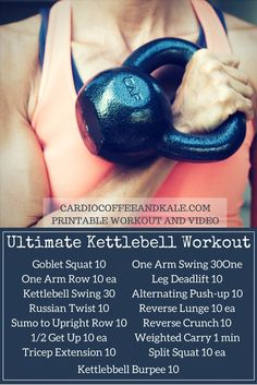 The only kettlebell workout you'll ever need! A total body ultimate workout - build strength and blast calories!