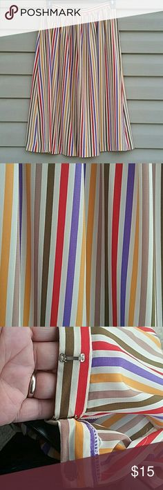 Anne Klein for new aspects Long maxi skirt by Anne Klein multicolored stripes the pocket on left side came apart at the seams but can be fixed side clasp closures other than the pocket it's in excellent condition size 10 Anne Klein Skirts Maxi