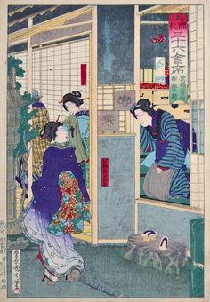 Kunichika, 36 Modern Restaurants - Shoeiro at Shinbashi-cho-Kunichika, 36 Modern Restaurants, Shoeiro at Shinbashi-cho, japanese woodblock p...