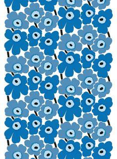Marimekko Small UNIKKO 2 BLUE Fabric 50 x 140 cm 100% Cotton  #Marimekko