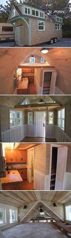 The 20' craftsman style tiny house features gray wash shake siding, detailed trim work around the windows and door, and an old growth redwood porch.