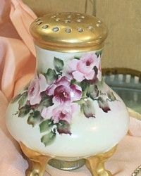 Antique Limoges Muffineer Sugar Shaker Hand Painted Pink Roses-Victorian, pickard, French,floral, bouquet, green, porcelain, gold, pierced, dessert, tea, breakfast,