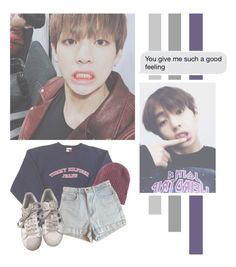"""""""Kim Taehyung"""" by lazy-alien ❤ liked on Polyvore featuring H&M, American Apparel, adidas, bts and KimTaehyung"""