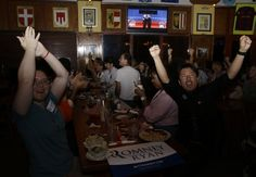 370 Viewers across US riveted by feisty Obama-Romney debate: 'The knives were out'    (Lynne Sladky/ Associated Press ) - Mariella Roque, 21, of Miami, left, and Jorge Palamino, 24, of Miami, right, supporters of Republican presidential candidate and former Massachusetts Gov. Mitt Romney, cheer as they watch a televised debate between Romney and President Barack Obama, Wednesday, Oct. 16, 2012, in Coral Gables, Fla.  By Associated Press, Published: October 17