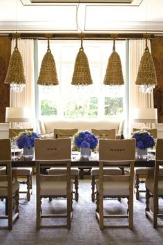 love that pop of color, and the idea of the chair covers with the names!  Easy project!
