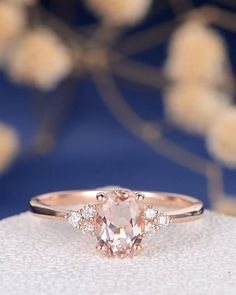 Morganite Engagement Ring Rose Gold Diamond Cluster Ring Oval