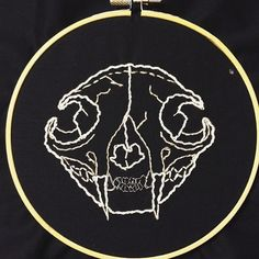 Cat Skull Hand Embroidery Hoop Art by shutupandcraft on Etsy