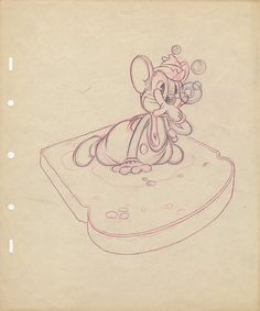 Original production layout drawing from The Country Cousin. (Walt Disney Studios, 1936) featuring  Abner Mouse  on a slice of bread This Disney animated short was the winner of the 1936 Academy Award for  Best Animated Short Film