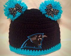Carolina Panthers Boy or Girl pom pom Team Hat- All teams available- Sizes Newborn to Adult