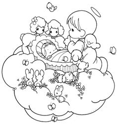 Angel de la guarda cuidando a bebé para colorear