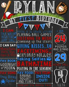 Baseball First Birthday Chalkboard Poster by LetsChalkMemories 1st Birthday Signs, Baseball First Birthday, First Birthday Posters, First Birthday Chalkboard, First Birthday Photos, Birthday Board, 1st Boy Birthday, First Birthday Parties, Baseball Party