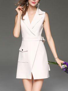 Beige Elegant Slit Plain Lapel Mini Dress With Belt Fashion Drawing Dresses, Fashion Dresses, Classy Outfits, Boho Outfits, Cheap Dresses, Short Dresses, Fashion 2017, Runway Fashion, Formal Chic