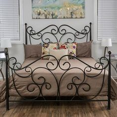 Diy Box Spring Bed Frame Pillows 36 Ideas For 2019 Wrought Iron Beds, Wrought Iron Decor, Iron Furniture, Bedroom Furniture, King Furniture, Furniture Stores, Cheap Furniture, Shabby Chic Bed Frame, Shabby Chic Art