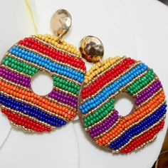 Colors, colors, and more colors! Fabric Jewelry, Wire Jewelry, Jewelry Crafts, Tassel Earrings, Ring Earrings, Crochet Earrings, Coin Belt, New Jewellery Design, Ribbon Embroidery