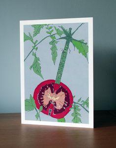 Vegetable Instrument Greetings Card. Tomato. Banjo. Food Illustration.