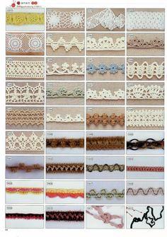 Diagram for several crochet motifs (image) Crochet Boarders, Crochet Lace Edging, Thread Crochet, Crochet Trim, Knit Or Crochet, Filet Crochet, Irish Crochet, Crochet Doilies, Crochet Flowers