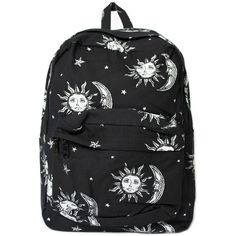 Motel Tripper Printed Rucksack in Sun, Moon and Stars ($59) ❤ liked on Polyvore featuring bags, backpacks, accessories, purses, knapsack bag, star backpack, padded bag, zipper bag and backpack bags