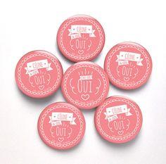 kit badges EVJF OUI 38 mm - 1 badge future mariée + 5 badges EVJF