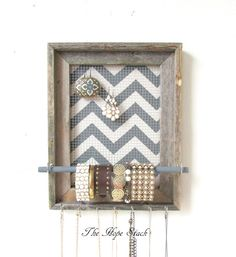 Jewelry Organizer Jewelry Display Barnwood Chevron Frame Silver Hooks on Etsy, $45.95