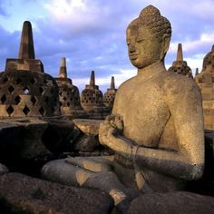 At Borobudur Temp[le in Indonesia. A must for travellers.