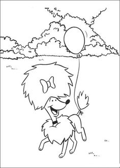 Poodle Playing With Baloon Coloring Page