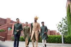 JadeBlue Style Inspirations for a Groom and his Groomsmen. Grooms no longer take second place when it comes to fashion. Groomsmen Outfits, Groom Outfit, Groom And Groomsmen, Wedding Couples, Boho Wedding, Farm Wedding, Wedding Reception, Sherwani Groom, South Indian Weddings