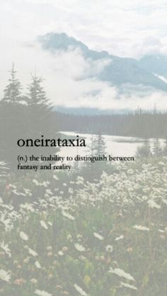 Oneirataxia: (n.) the inability to distinguish between fantasy and reality.