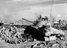 Tank M4A3(75)W Sherman 755 th tank battalion, operating of the 91st infantry division USA in the area of Leverano, Italy.