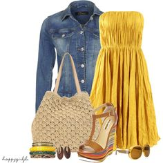 Yellow is my all-time fav color and then mint, of course. Do not look at the price tag on this dress...go find a yellow sundress at TJ Maxx, and I bet you can come close to re-creating this adorable outfit. Those wedges are so cute.